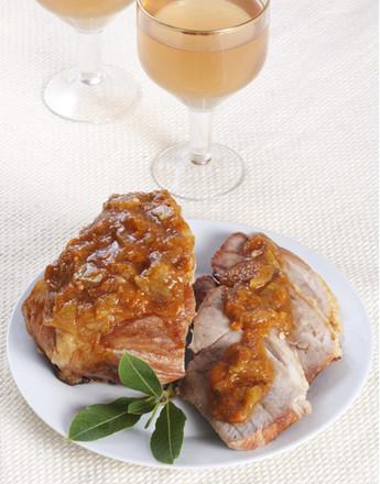 Baked pork in apricot glaze