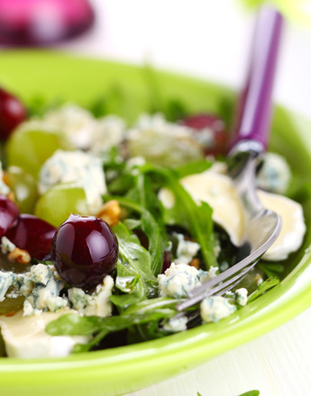 Cheese salad with grapes