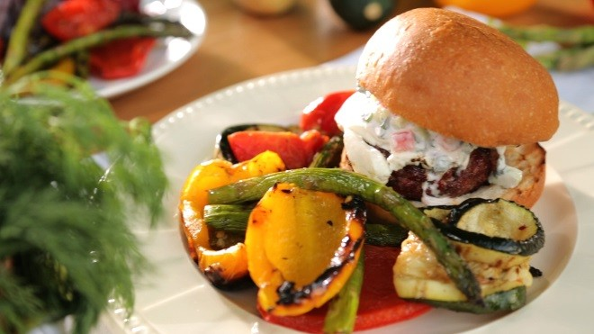 Grilled Feta Burger and Vegetables