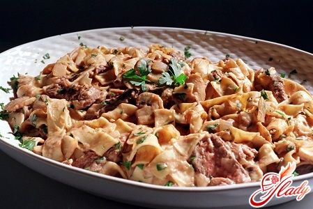 a recipe for beef stroganoff with mushrooms