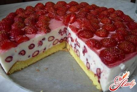 delicious sponge cake with curd cream