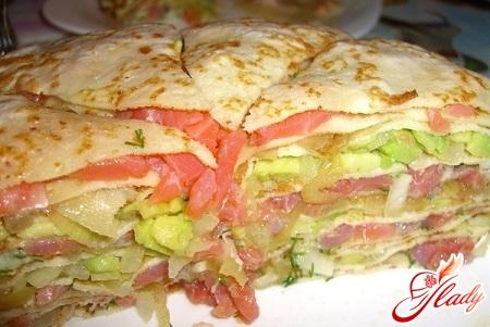 delicious pancake cake with salmon