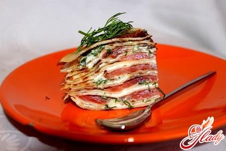pancake cake with salmon