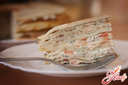 cake pancake with salmon