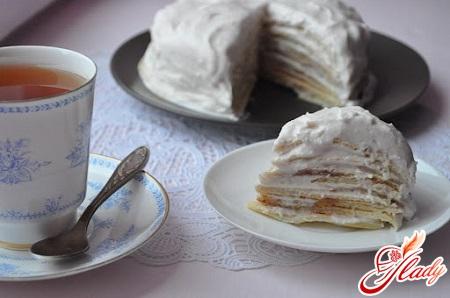 pancake cake with custard
