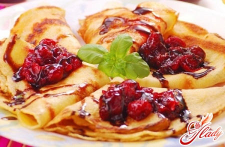 pancakes with cherry filling