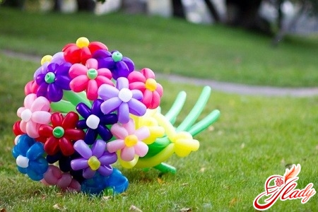 flowers from balls by own hands