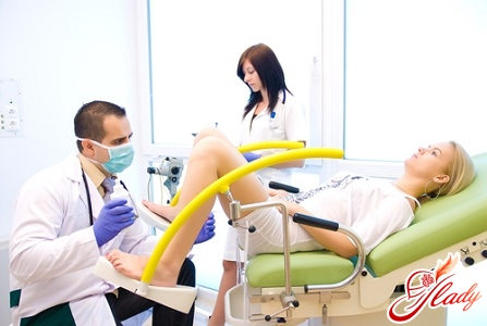 on examination with a gynecologist