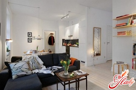 interior design of a one-room apartment with a niche