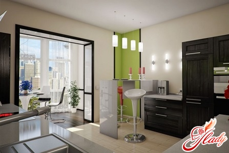 kitchen design with a balcony