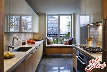 kitchen interior design with balcony