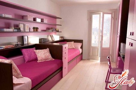 interior of a children's room for two girls