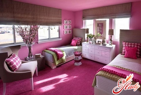 simple interior of a children's room for two girls