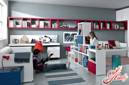 interior of a children's room for children of different sexes