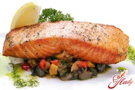 fried trout with vegetables