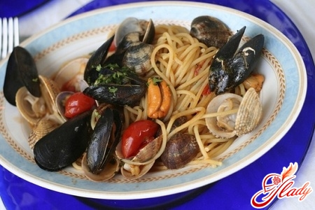 tasty carbonara with seafood