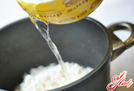 adding sauces to rice