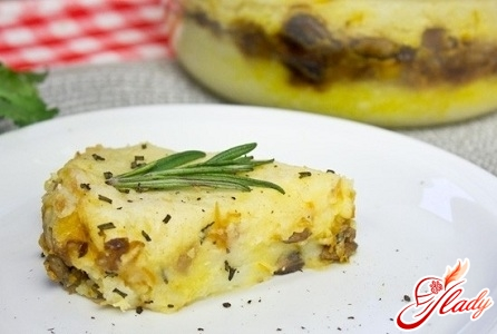 delicious potato casserole with mushrooms and cheese