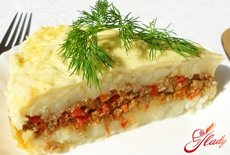 delicious potato casserole with meat and cheese