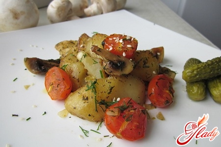 delicious potato pudding with vegetables
