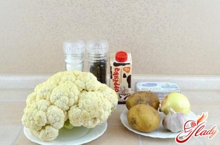 інгредієнти для капустяного крем супу