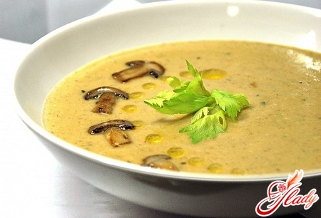 delicious mushroom soup with champignons