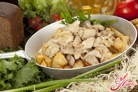 chicken with champignons in creamy sauce