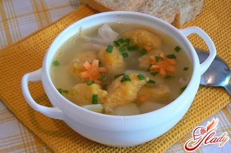 суп з курки з галушками