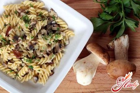 pasta with porcini mushrooms in creamy sauce