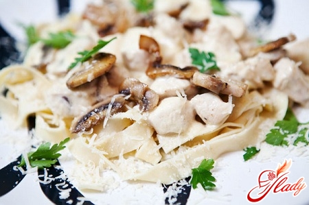 how to cook pasta with chicken and mushrooms