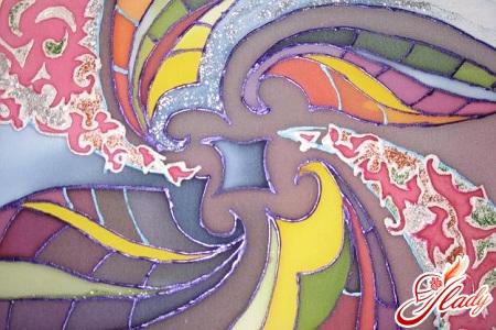 Painting on silk fabric batik