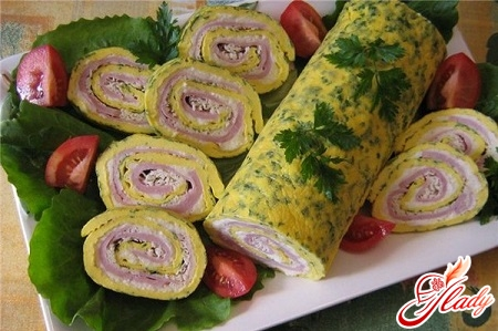 rolls of omelet