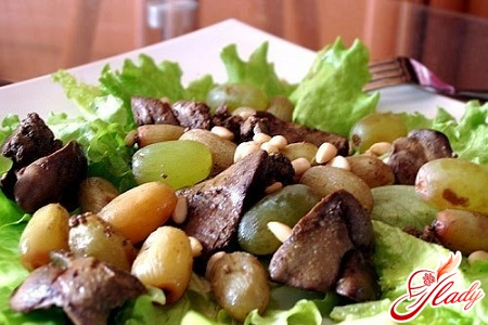 salad with liver and cucumber