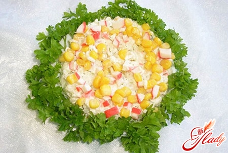 salad with squid and crab sticks