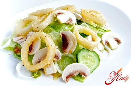 quick salad of squid with cheese
