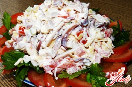 salad with squid and apples