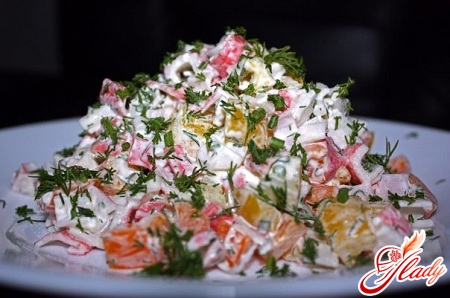 salad of Chinese cabbage and crab sticks