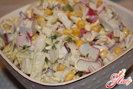 salad with crab sticks and Chinese cabbage