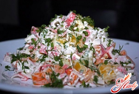 salad with sea kale and crab sticks