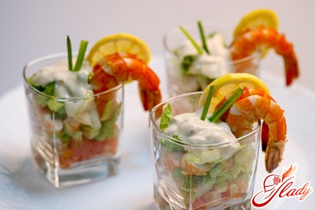 salad cocktail with shrimps