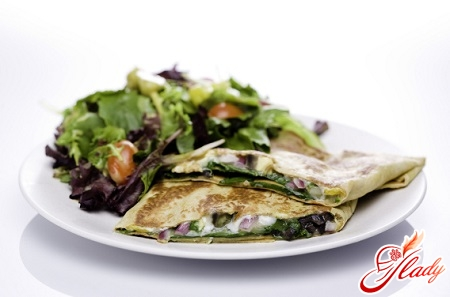salad with pancakes and mushrooms