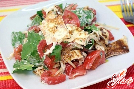 salad with pancakes with mushrooms