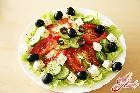 delicious salad with brynza and olives
