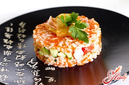 salad with shrimps and caviar