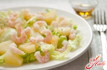 delicious salad with squid and pineapple