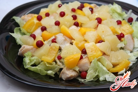 salad with squid and pineapple