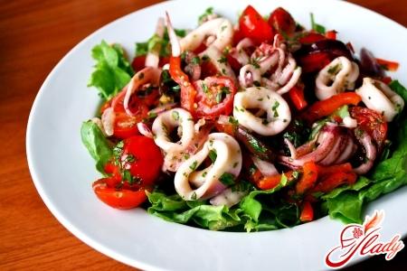 salad of squid with mushrooms recipe