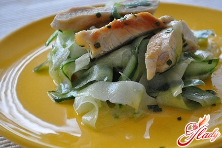 salad with chicken and pickled cucumbers