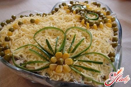 salads from marinated champignons