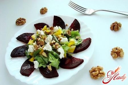 delicious salad with prunes and beets